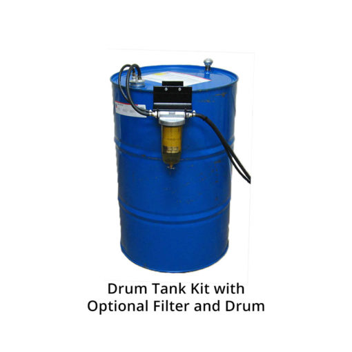 Drum tank kit and fuel filter on drum